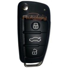 Выкидной ключ Ауди A6, Q7 (Audi A6, Q7) | 2004-2015 | 4F0837220AF | ID 8E | Keyless Go | HU66 | 433MHz Европа | 3 кнопки | Оригинал