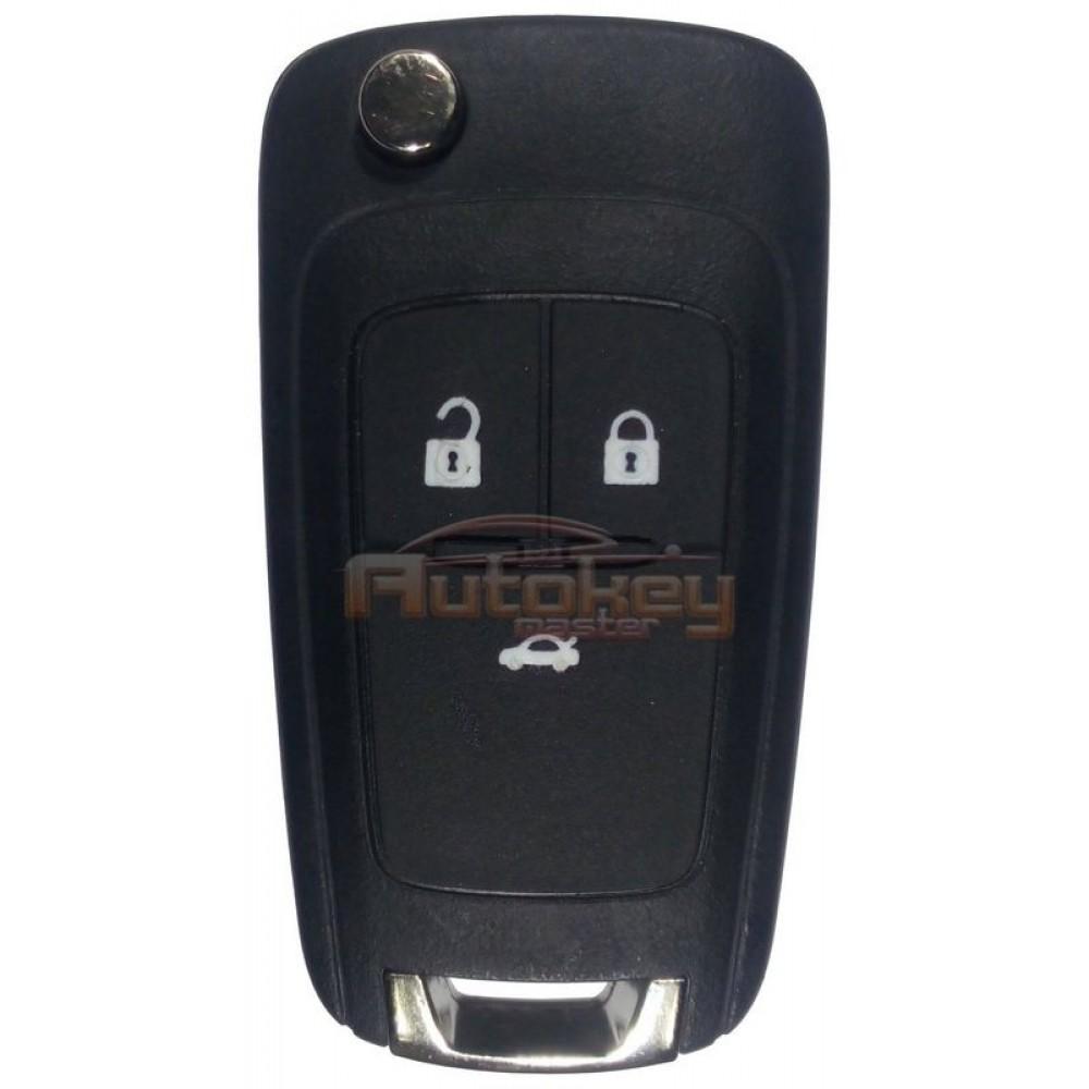 Выкидной ключ для Шевролет Круз, Кобальт, Авео (Chevrolet Cruze, Cobalt, Aveo) HU100 | PCF7937E | 433MHz | 3 кнопки | Оригинал