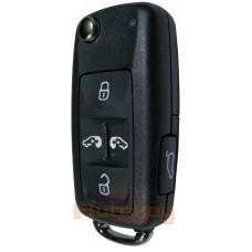 Выкидной ключ Фольксваген Мультивен, Шаран (Volkswagen Multivan, Sharan) | 2016- | 7N0837202AE | Keyless GO | Megamos AES | HU66 | 433MHz Европа | 5 кнопок | Оригинал