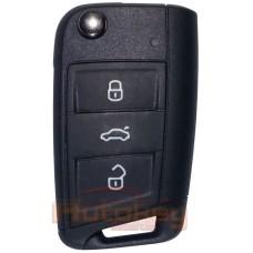 Выкидной ключ Фольксваген Тигуан, Транспортер, Каравелла, Мультивен (Volkswagen Tiguan, Transporter, Caravelle, Multivan) | 2019-2021 | 5G6959752CS | MQB49 | HU162T | 433MHz Европа | 3 кнопки | Оригинал